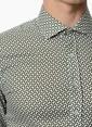 Network Desenli Slim Fit Uzun Kollu Gömlek Yeşil